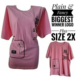 🐞🐞Pink black plain & fancy logo tshirt top 2X